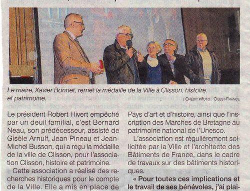 L'asso Clisson Histoire et Patrimoine honorée par la ville